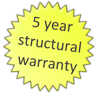 5 year structural warranty on all vessels